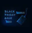 black friday sale banner with glowing low poly tag vector image vector image