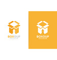 box and arrow up logo combination package vector image