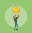 business man holding dollar coin vector image vector image