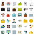 businessman icons set flat style vector image vector image