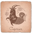 Capricorn zodiac sign horoscope vintage card vector image