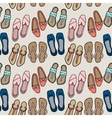 Clothes and shoes pattern doodle vector image
