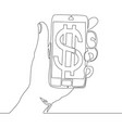 continuous line phone with dollar e-commerce vector image vector image