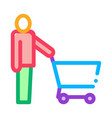customer cart icon outline vector image