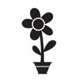 cute flower on a pot silhouette vector image