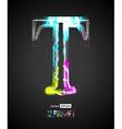 Design Light Effect Alphabet Letter T vector image vector image