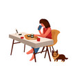 dining woman cartoon female sitting at table vector image