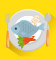 dish with fish and vegetables vector image vector image