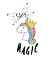 fashion print type stay magic slogan vector image vector image