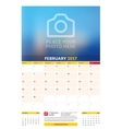 February 2017 Wall Monthly Calendar for 2017 Year vector image