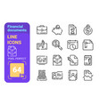 financial documents line icons set vector image vector image