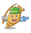 fishing exotic shell mascot cartoon vector image