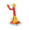 flat cartoon giraffe character sledding vector image vector image