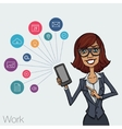 Girl in business suit showing a smartphone screen vector image vector image