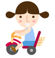 girl ride bike vector image