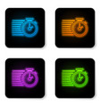 glowing neon stopwatch icon isolated on white vector image vector image