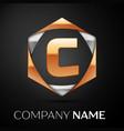 gold letter c logo in the golden-silver hexagonal vector image vector image
