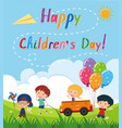 happy childrens day poster with kids in the park vector image vector image