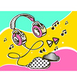 headphone with clouds on colorful backgro vector image