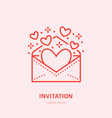 hearts flying from envelope party vector image vector image