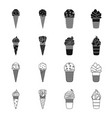 ice cream on a stick in a waffle cone and other vector image