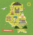 innsbruck map with landmarks austria town vector image