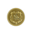 knight riding steed lance coat arms medallion vector image vector image