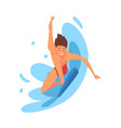 male surfer character riding waves guy with vector image vector image