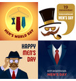 mens day banner set cartoon style vector image vector image
