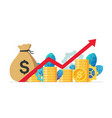 monetary profit and growing red graph up economic vector image vector image