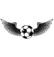 monochromatic football ball with wings emblem vector image vector image