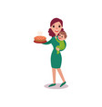 mother holding fresh homemade pie in one arm and vector image vector image