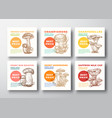 mushrooms label templates collection hand vector image
