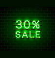 neon 30 sale text banner night sign vector image vector image