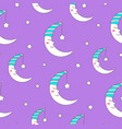 seamless pattern cute moon character vector image