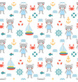 seamless pattern with cute little bear sailor vector image vector image
