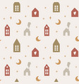 seamless pattern with cute scandinavian houses vector image vector image