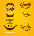 set funny emblem design world smile day vector image vector image