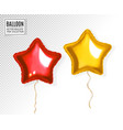 set of star gold and red balloon on transparent vector image