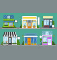 shop front set isolated outdoor store facades vector image vector image