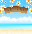 Signboard welcome hangs on tropical beach vector | Price: 1 Credit (USD $1)