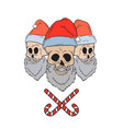 skulls with santa hats vector image vector image