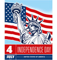 statue liberty usa flag independence day vector image