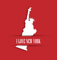 statue of liberty white paper cutting in red vector image vector image