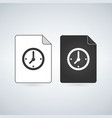 temp document file icon withclock icon flat sign vector image vector image