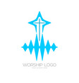 the cross of jesus and the sound waves vector image vector image