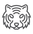 tiger line icon animal and zoo cat sign vector image