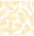 tropical leaves sketch pattern hand drawn gold vector image vector image
