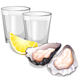Vodka in glasses and oysters vector image vector image