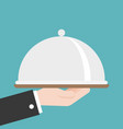waiter or business hand holding cloche flat design vector image